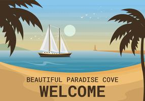 Vacker Paradise Cove Vector Illustration