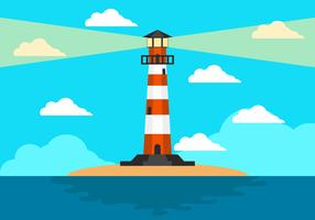Cove With Lighthouse Background vector