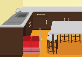 Waste Basket in the Kitchen Free Vector