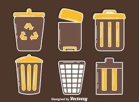 Ícones da cesta de resíduos no vetor marrom