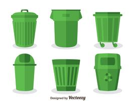Vector de cesta de lixo verde