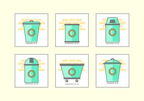 Green Waste Basket Icon Set