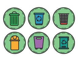 Waste basket vector set