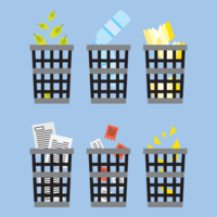 Waste Basket Icon Set vector