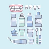 Vector False Teeth and Dentist Elements