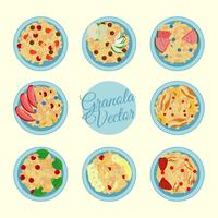 Granola in a bowl vector