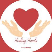Mãos curais segurando ilustração do coração