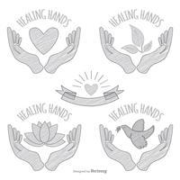Hand getrokken schetsmatig helende handen
