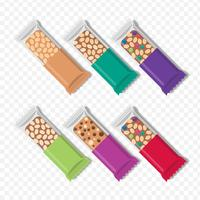 Granola Bars In Different Packaging Set vector