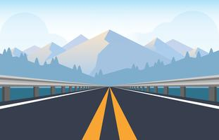Highway Road With Metal Traffic Barriers vector