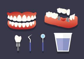 Vetor de elementos de dentes falsos