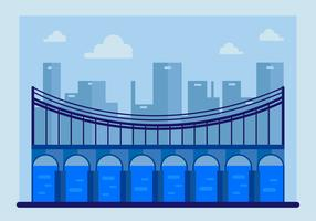 Blue Bridge with Guardrail Vector