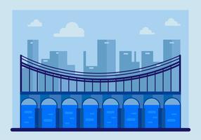 Blue Bridge with Guardrail Vector
