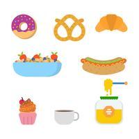Platte ontbijt vectoren
