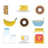 Vectores de desayuno plano