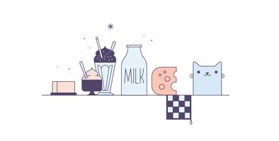 Vettore gratuito di prodotti a base di latte
