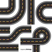 Road Map Design Element Set. Top View Position. Highway Parts
