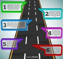 Plantilla de carretera infografía - Vector