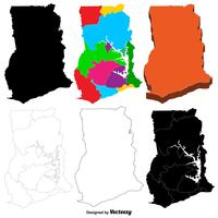 conjunto de mapa de ghana vector