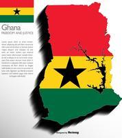 Carte 3d du Ghana avec le drapeau