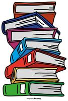 Vector Pile Of Color Cartoon Style Books