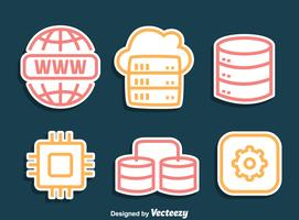 Domain Line Icons Vector