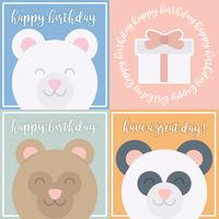 Vector Cute Bear Birthday Cards