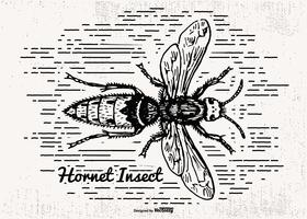 Handdragen stil Hornet Insect Illustration