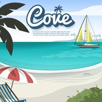Vacker Cove Beach Vector Illustration