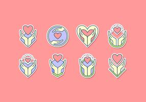 Healing Hands Icon Sticker Gratis Vector