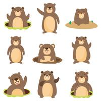 Flat Gopher com diferentes Pose Vector