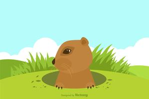 Cartoon Gopher On Top Of A Hill Vector