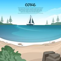 Beautiful Cove Beach Vector Illustration