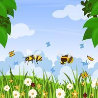 Hornets No Jardim Vector