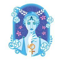 Vacker Aphrodite i Flower Frame Vector