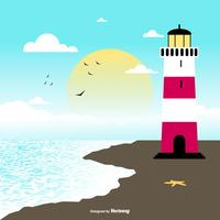 Cove with Lighthouse Illustration