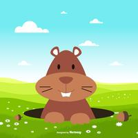 Gullig Flat Style Gopher Illustration