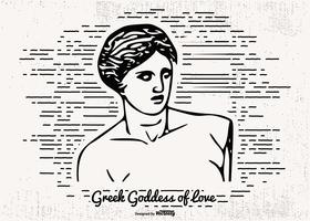 Getrokken illustratie van Goddess of Love