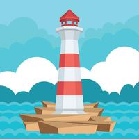 Cove with Lighthouse Vector Illustration