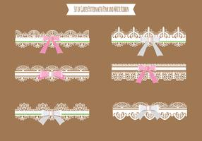 Set of Garter Pattern with Violet Ribbon