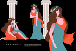 Aphrodite Vector Flat Greek Character Illustration