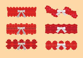 Set van rode ribbelpatroon met wit lint