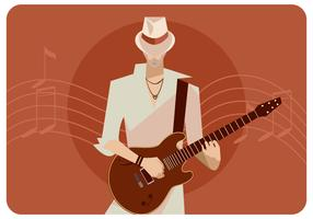 Guitarist With White Hat Vector