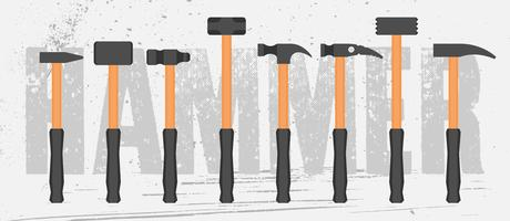 Simple Types Of Hammers Set vector
