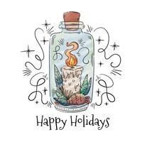 Cute Jar With Christmas Candle, Leaves And Berries vector