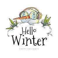 Linda cabeza muñeco de nieve con gafas y orejeras