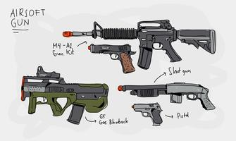 Airsoft Gun Collection Hand Drawn Vector Illustration