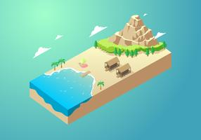 Isometric Wooden House At Cove Free Vector