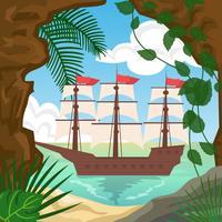 Cove på tropisk ö med skeppsvektor