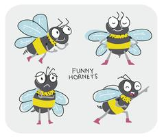Funny Hornets Cartoon Character Pose Vector Illustration